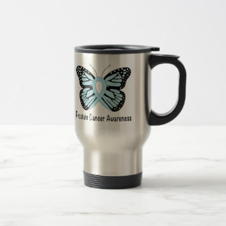 Prostate Cancer Awareness Ribbon with Butterfly Travel Mug