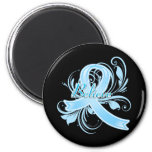 Prostate Cancer  Believe Flourish Ribbon 2 Inch Round Magnet