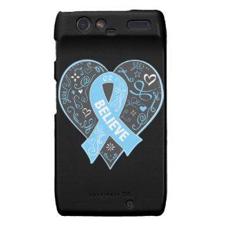 Prostate Cancer Believe Ribbon Heart Motorola Droid RAZR Cover