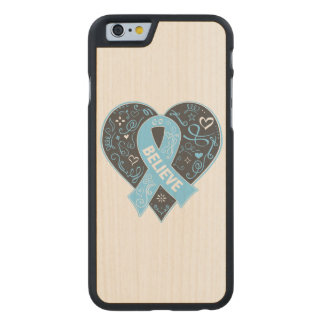 Prostate Cancer Believe Ribbon Heart Carved® Maple iPhone 6 Slim Case