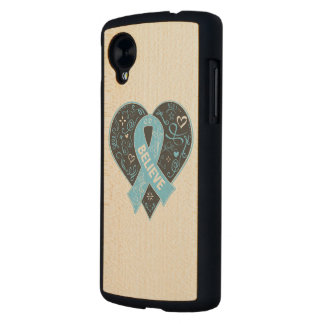 Prostate Cancer Believe Ribbon Heart Carved® Maple Nexus 5 Case