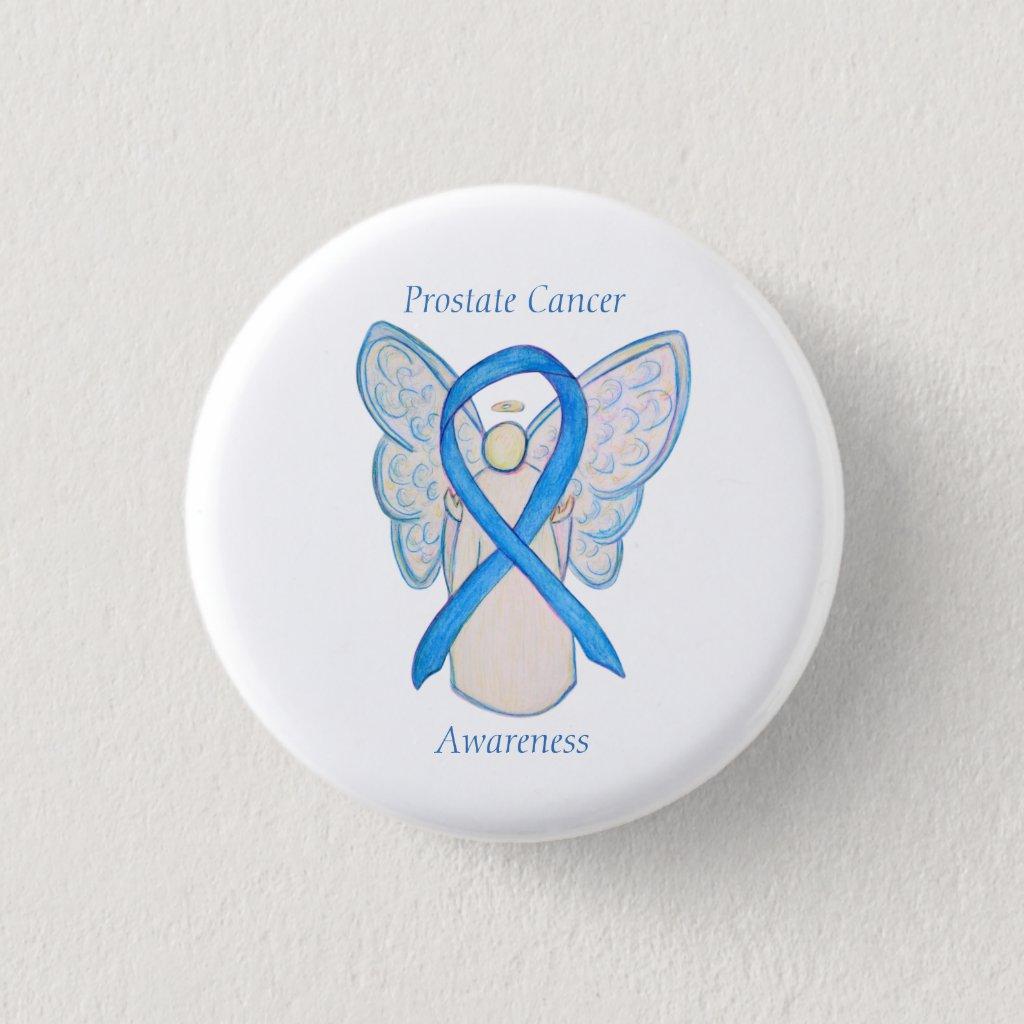 Prostate Cancer Blue Awareness Ribbon Angel Pin