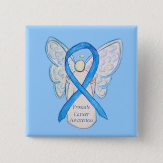 Prostate Cancer Blue Awareness Ribbon Angel Pin