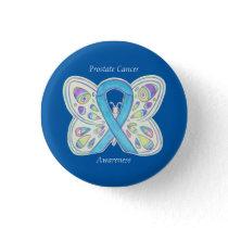 Prostate Cancer Blue Awareness Ribbon Custom Pin