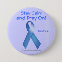 Prostate Cancer Blue Ribbon Pinback Button