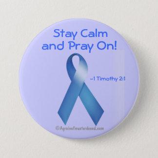 Prostate Cancer Blue Ribbon Pinback Button