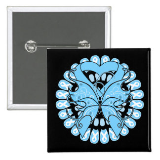 Prostate Cancer Butterfly Circle of Ribbons 2 Inch Square Button