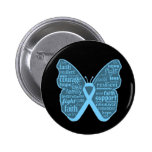 Prostate Cancer Butterfly Collage of Words Pinback Buttons