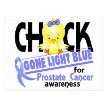 Prostate Cancer Chick Gone Light Blue 2 Postcard