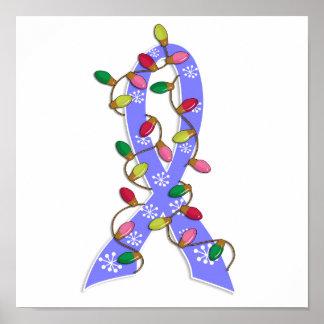 Prostate Cancer Christmas Lights Ribbon Poster