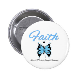 Prostate Cancer Faith Butterfly Ribbon Pinback Button