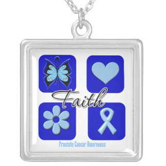 Prostate Cancer Faith Inspirations Square Pendant Necklace