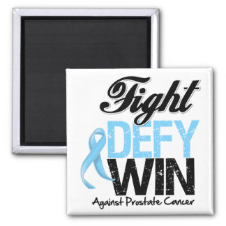 Prostate Cancer Fight Defy Win 2 Inch Square Magnet