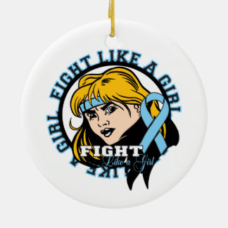 Prostate Cancer Fight Like A Girl Attitude Double-Sided Ceramic Round Christmas Ornament