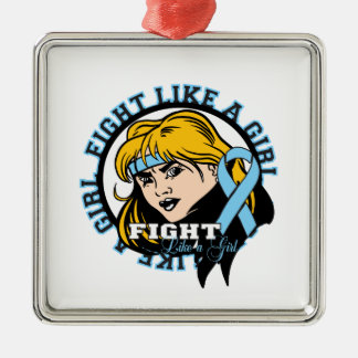 Prostate Cancer Fight Like A Girl Attitude Square Metal Christmas Ornament