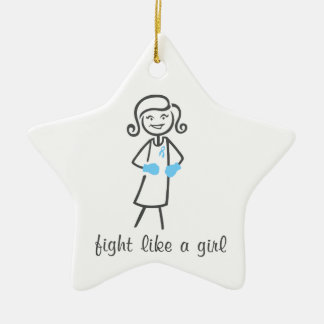 Prostate Cancer Fight Like A Girl (Retro) Double-Sided Star Ceramic Christmas Ornament