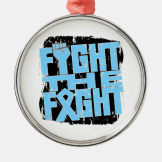 Prostate Cancer Fight The Fight Round Metal Christmas Ornament