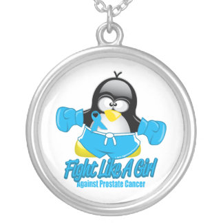Prostate Cancer Fighting Penguin Round Pendant Necklace