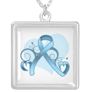 Prostate Cancer Floral Heart Ribbon Square Pendant Necklace