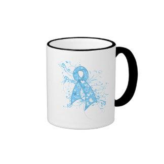 Prostate Cancer Floral Swirls Ribbon Ringer Coffee Mug
