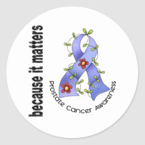 PROSTATE CANCER Flower Ribbon 3 Classic Round Sticker