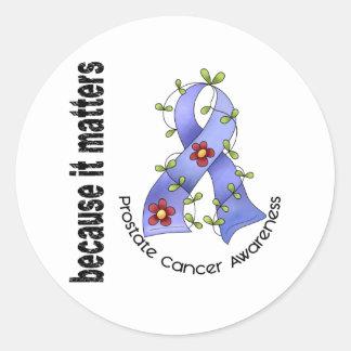 PROSTATE CANCER Flower Ribbon 3 Classic Round Sticker