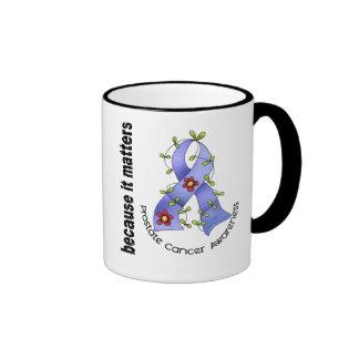 PROSTATE CANCER Flower Ribbon 3 Ringer Mug