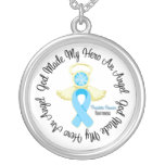 Prostate Cancer God Made My Hero An Angel Round Pendant Necklace