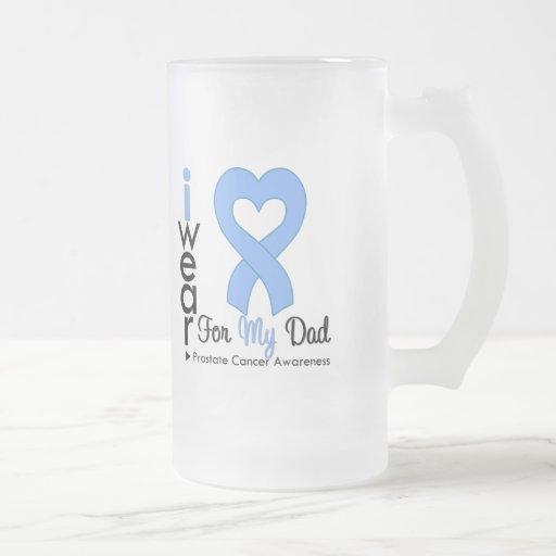 Prostate Cancer Heart Ribbon DAD 16 Oz Frosted Glass Beer Mug