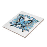 Prostate Cancer Hope Believe Butterfly Ceramic Tiles