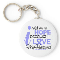 Prostate Cancer Hope for My Husband Keychain