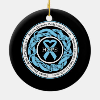 Prostate Cancer Hope Intertwined Ribbon Double-Sided Ceramic Round Christmas Ornament