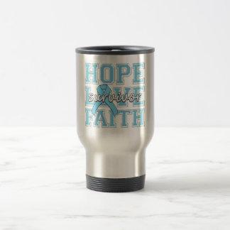 Prostate Cancer Hope Love Faith Survivor 15 Oz Stainless Steel Travel Mug