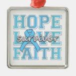 Prostate Cancer Hope Love Faith Survivor Square Metal Christmas Ornament