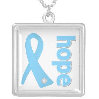Prostate Cancer Hope Ribbon Square Pendant Necklace