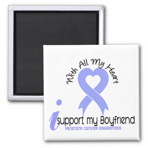 PROSTATE CANCER I Support My Boyfriend 2 Inch Square Magnet