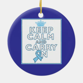 Prostate Cancer Keep Calm and Carry On Double-Sided Ceramic Round Christmas Ornament