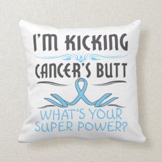 Prostate Cancer Kicking Cancer Butt Super Power Throw Pillow