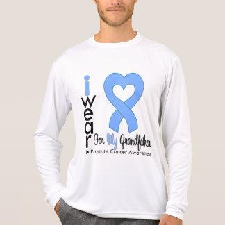 Prostate Cancer Light Blue Heart Ribbon GRANDFATHE Tshirt