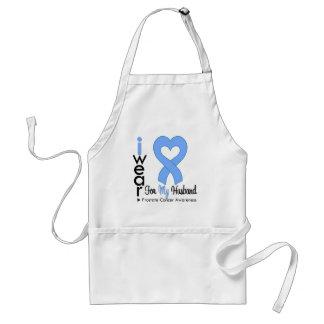 Prostate Cancer Light Blue Heart Ribbon HUSBAND Adult Apron