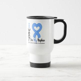 Prostate Cancer Light Blue Heart Ribbon NEPHEW 15 Oz Stainless Steel Travel Mug