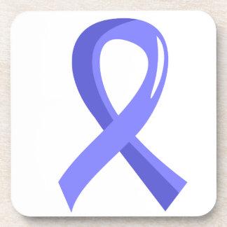 Prostate Cancer Light Blue Ribbon 3 Beverage Coaster
