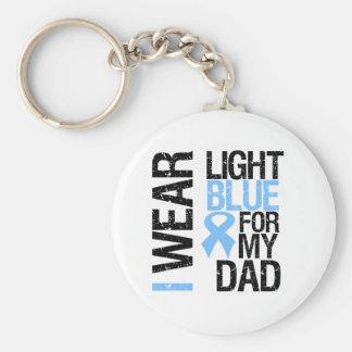 Prostate Cancer Light Blue Ribbon Dad Key Chain