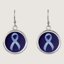 Prostate Cancer Light Blue Ribbon Earrings