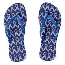 Prostate Cancer Light Blue Ribbon Flip Flops
