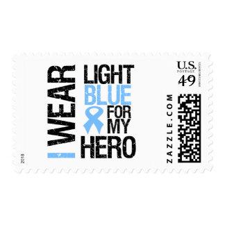 Prostate Cancer Light Blue Ribbon For My Hero Stamp