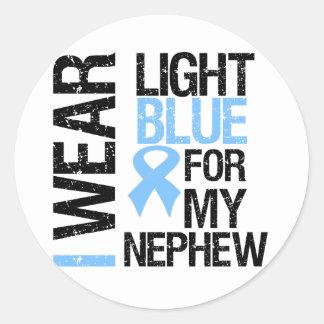 Prostate Cancer Light Blue Ribbon Nephew Classic Round Sticker