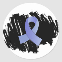 Prostate Cancer Light Blue Ribbon With Scribble Classic Round Sticker