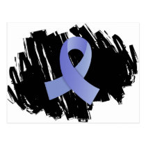 Prostate Cancer Light Blue Ribbon With Scribble Postcard
