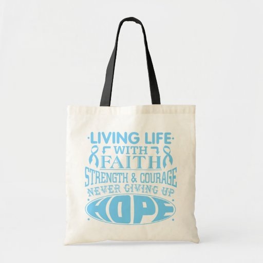 Prostate Cancer Living Life with Faith Canvas Bags